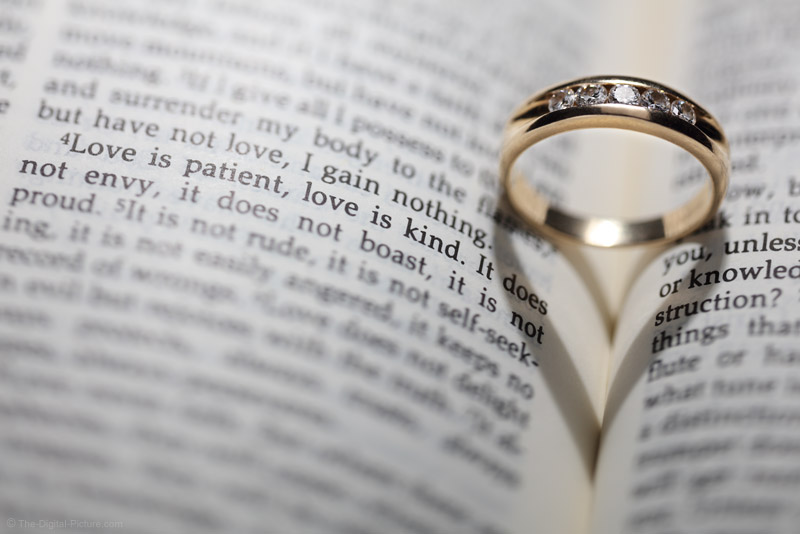 Creating a Wedding Ring, Bible, Love Verse and Heart Shadow Photograph